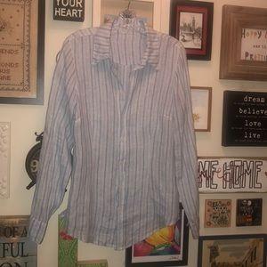 CP Shades Linen Button Front Blue Vertical Stripes
